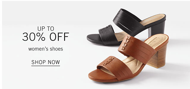 A black leather chunky heeled sandal & a brown leather chunky heeled sandal. Up to 30% off women's shoes. Shop now.