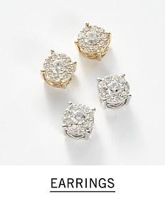 Gold & diamond earrings & silver & diamond earrings. Shop earrings.