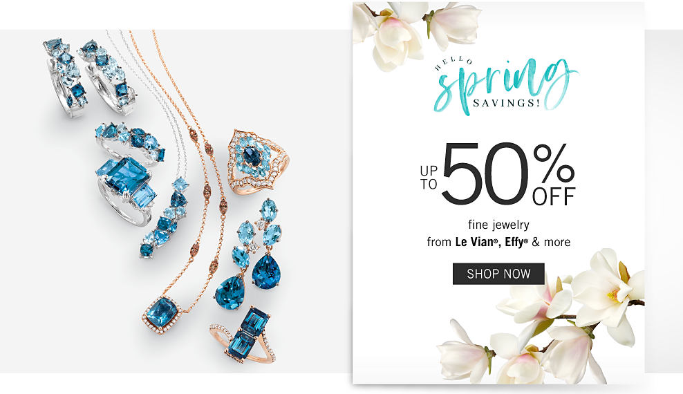 An assortment of gold, diamond & blue diamond rings, earrings & necklaces & silver, diamond & blue diamond rings, earrings & necklaces. Hello Spring Savings. Up to 50% off fine jewelry from Le Vian, Effy & more. Shop now.
