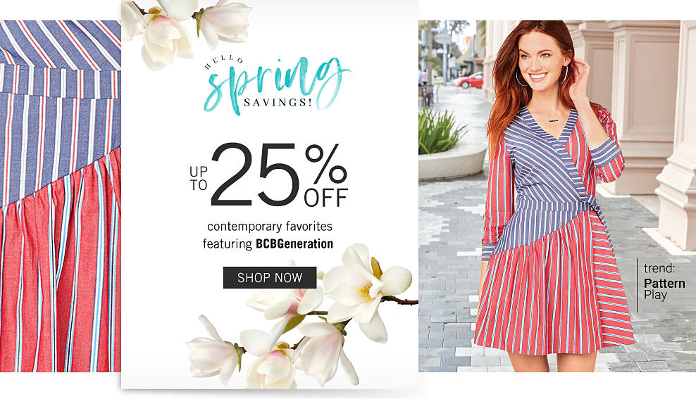 A woman wearing a red, denim blue & white striped long sleeved dress. Hello, Spring Savings. Up to 25% off contemporary favorites featuring B C B Generation. Trend. Pattern Play. Shop now.