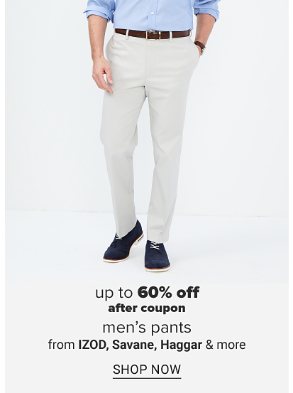 A man in a blue dress shirt, a brown belt, khaki pants and navy blue shoes. Up to 60% off, after coupon, men's pants from IZOD, Savane, Haggar and more. Shop now.