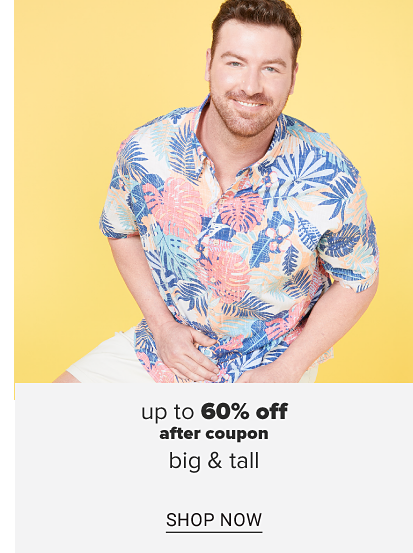 A man in a blue, coral, turquoise and pale pink hawaiian shirt with white shorts. Up to 60 percent off, after coupon, big and tall. Shop now.
