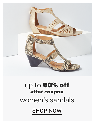 A linen white strappy cage sandal. A snake skin strappy cage sandal with a small heel. Doorbuster. Up to 50 percent off women's sandals. Shop now.