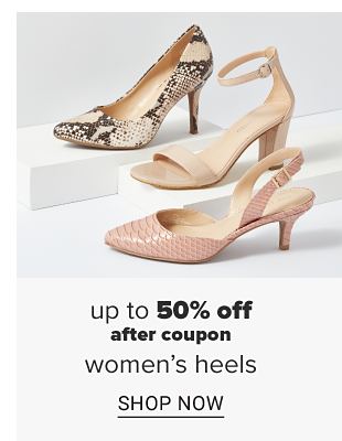 A closed toe snake skin stiletto heel. A beige open toed sandal chunky heel with an ankle strap. A pale pink closed toe heel with a back strap. Up to 50 percent off after coupon women's heels. Shop now.