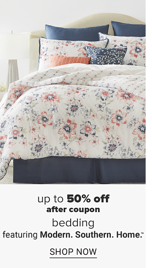 A bed made up with a white comforter with blue and coral floral designs and matching pillows. Up to 50 percent off after coupon bedding featuring Modern. Southern. Home. Shop now.