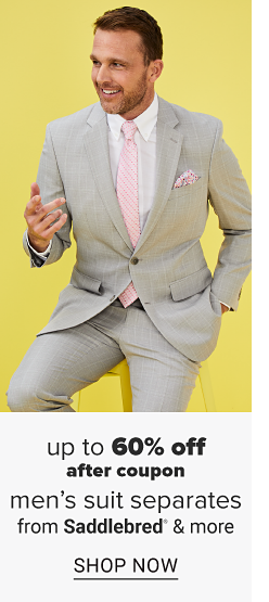 A man in a grey suit with a white dress shirt, a pink tie and a pink pocket square. Up to 60% off after coupon men's suit separates. Suit separates from Saddlebred, Madison and more. Shop now.