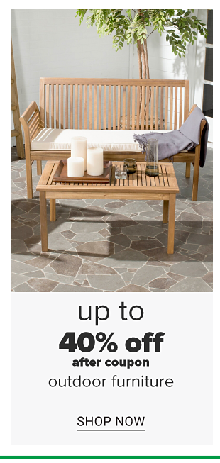 A wooden 2 person bench with a white cushion and a matching coffee table. Up to 40 percent off, after coupon, outdoor furniture. Shop now.
