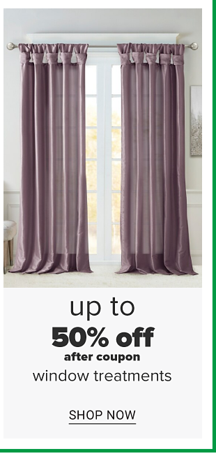 A window with purple sheer curtains. Up to 50 percent off, after coupon, window treatments. Shop now.