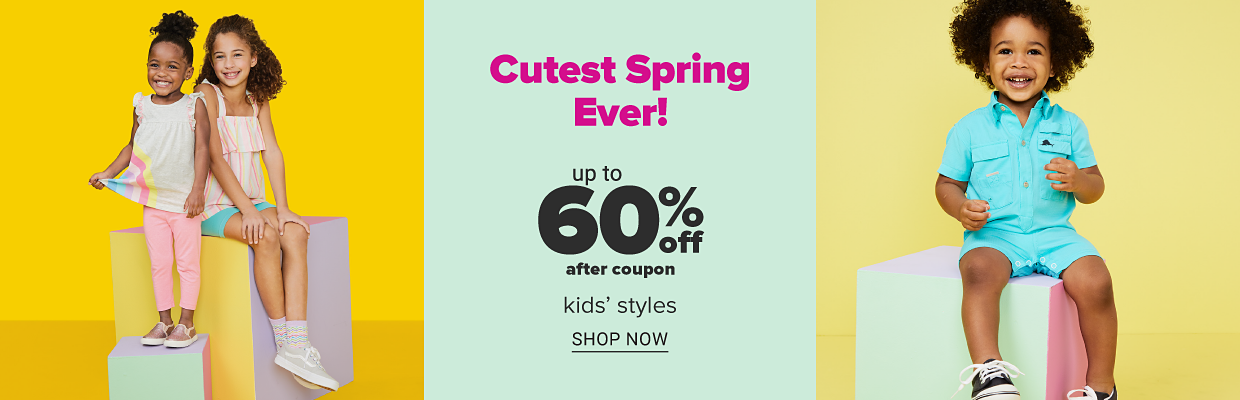 A little girl in pink pants, a white sleeveless shirt with a rainbow design and metallic pink slip-on shoes. A little girl in turquoise shorts, a colorful striped tank top and grey sneakers. A little boy in a aqua fishing shirt, aqua shorts and black sneakers. Cutest spring ever. Up to 60 percent off, after coupon, kids Carter's, Crown and Ivy, True Craft and more. Shop now.