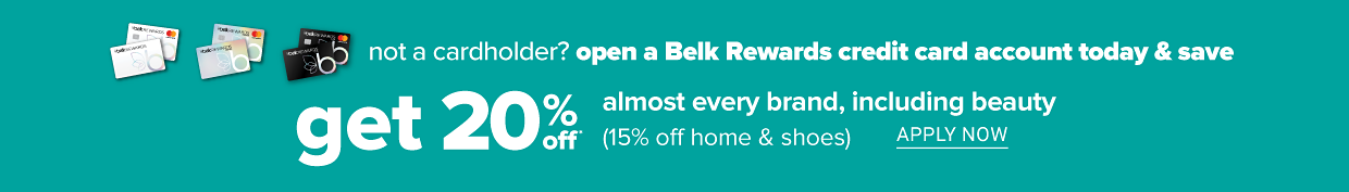 Graphic images of Basic, Premier and Elite Belk Rewards credit cards. Not a cardholder? Open a Belk Rewards credit card account today and save. Get 20 percent off almost every brand, including beauty. 15 percent off home and shoes. Apply now.