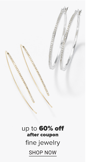 A pair of silver hoop earrings with small diamonds. A pair of gold hoop earrings with small diamonds. Up to 60% percent off fine jewelry. Shop now.