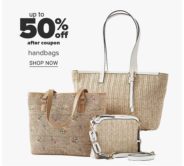 An assortment of straw handbags in a variety of sizes and styles. Up to 50 percent off handbags. Shop now.