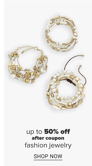 An assortment of bracelets in a variety of designs featuring sea shells, stones and charms. Up to 50 percent of fashion jewelry. Shop now.