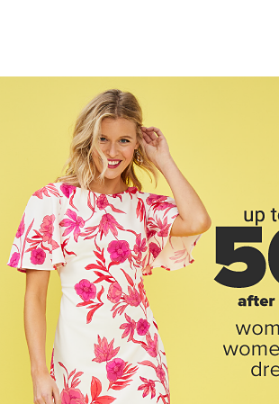 A woman in a short sleeve white dress with pink and red floral designs and open toed beige sandals with a heel. A woman a sleeveless coral dress and beige open toed shoes with a chunky heel. Up to 50 percent off after coupon women's & women's plus dresses. Also in plus sizes at slightly higher prices. Shop women. Shop women's plus