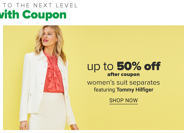 A woman in a white pencil skirt with a matching jacket and a frill front salmon colored blouse. Up 50 percent off after coupon women's suit separates. Featuring Tommy Hilfiger. Shop now.