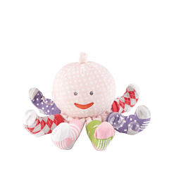 A multi colored smiling stuffed octopus toy. Shop gifts.