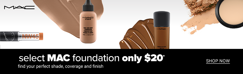 The MAC logo and an assortment of MAC products. Select MAC foundation only $20. Find your perfect shade, coverage and finish. Shop now.