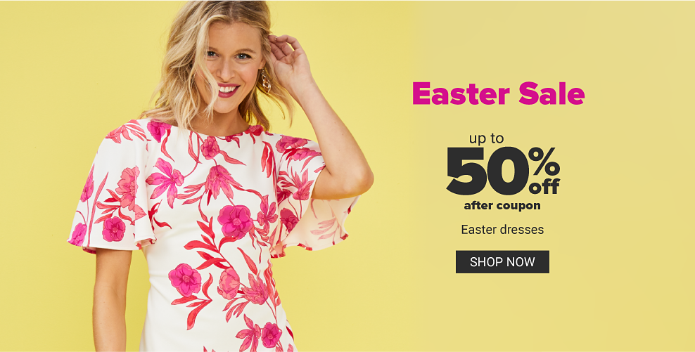 A young woman in a white dress with a pink floral pattern. Easter Sale. Up to 50% off after coupon. Easter dresses. Shop now.