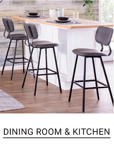 Three bar stools. Dining Room and Kitchen.
