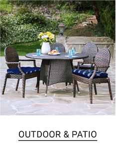 A patio set consisting of a table and three chairs. Outdoor and patio.
