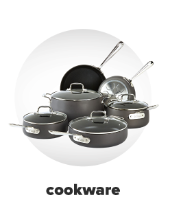 A six piece stainless steel cookware set. Cookware.