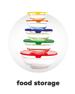 Five storage containers in a stack in various sizes with multicolored lids. Food storage.