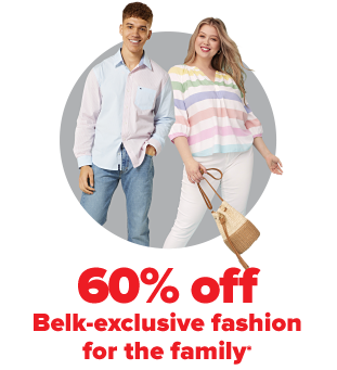 A young man in a pastel button down shirt and jeans. A woman in a pastel horizontal striped tunic, white pants and a woven handbag. 60% off Belk exclusive fashion for the family.