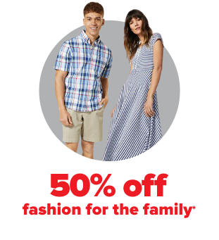 A young man in a blue checkered shirt and khaki shorts. A woman in a blue striped midi dress. 50% off fashion for the family.