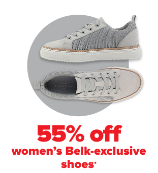 A pair of grey and white fashion sneakers. 55% off Belk exclusive shoes for the family.