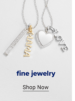 Two silver necklaces, one with a silver bar charm and a gold Mama charm and the other with a silver heart charm and a Love charm. Fine jewelry. Shop now.