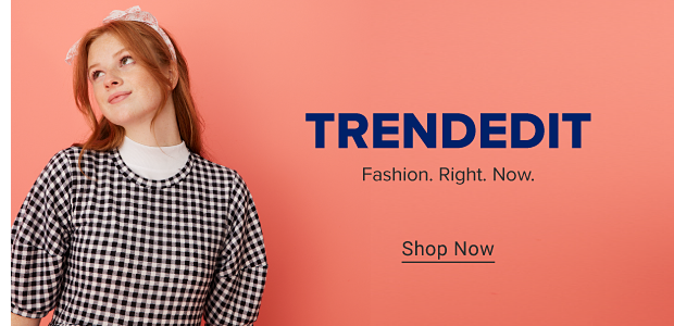A girl wearing a pink headband and a black and white gingham dress with a white mock turtleneck on underneath. Trend Edit. Fashion. Right. Now. Shop now.