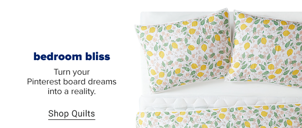 A matching quilt and pillow set with a lemon pattern. Bedroom bliss. Turn your Pinterest board dreams into a reality. Shop quilts.