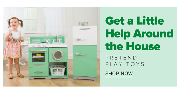 A little girl with a kitchen playset. Get a little help around the house. Pretend play toys. Shop now.