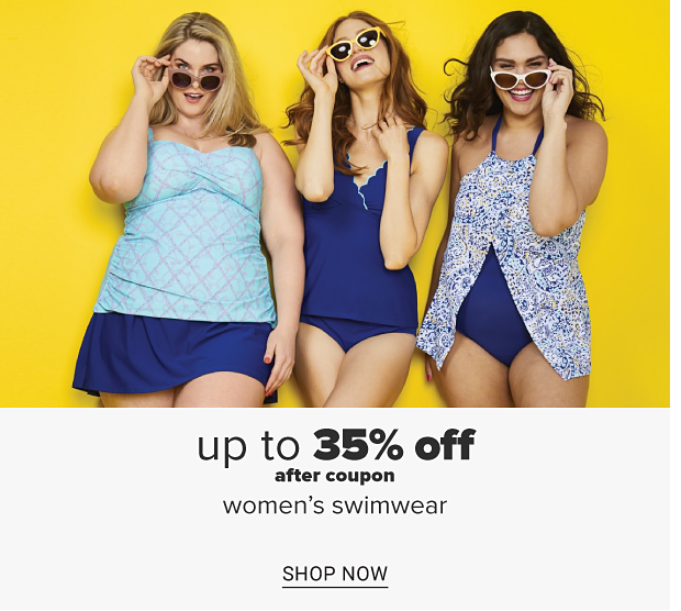 Three women wearing blue and white printed swimsuits and sunglasses. Up to 35% off after coupon women's swimwear. Shop now.