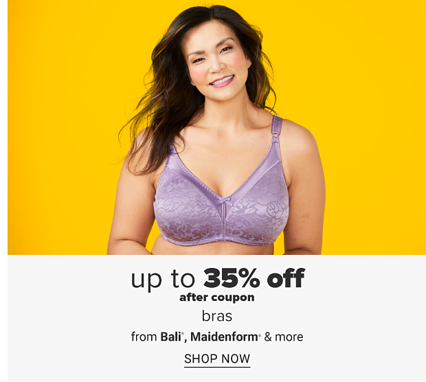 A woman in a light purple bra. Up to 35% off after coupon, bras featuring Bali, Maidenform and more. Shop now.