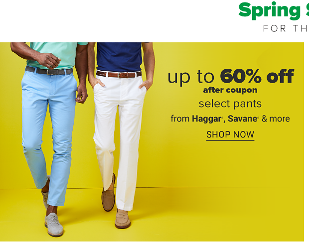 A man in a green shirt and blue pants standing next to a man in a navy shirt and khaki pants. Up to 60% off after coupon select pants from Haggar, Savane and more. Shop now.