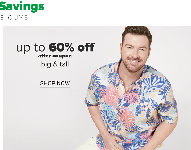 A man in a white, pink and blue tropical short sleeve shirt and khaki shorts. Up to 60% off after coupon, big and tall. Shop now.