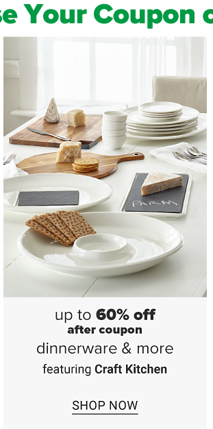 A table with an assortment of dinnerware with cheese and crackers. Up to 60% off after coupon, dinnerware and more featuring Craft Kitchen. Shop now.
