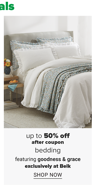 A bed with white bedding and pillows and blankets to match. Up to 50% off, after coupon bedding featuring goodness and grace. Shop now.