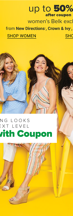 Four women wearing Belk exclusive spring outfits and sandals. Up to 50% off after coupon women's Belk exclusives from New Directions, Crown and Ivy, Kim Rogers and more. Shop women. Shop women's plus. Take your spring looks to the next level. Save more with coupon.