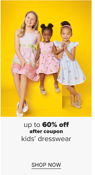 Three girls wearing easter dresses and flats. Up to 60% off after coupon kids' dresswear. Shop now.