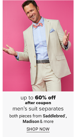 A man in a khaki suit with a blue dress shirt and pink bow tie. Up to 50% off after coupon men's suit separates from Saddlebred, Madison and more. Shop now.