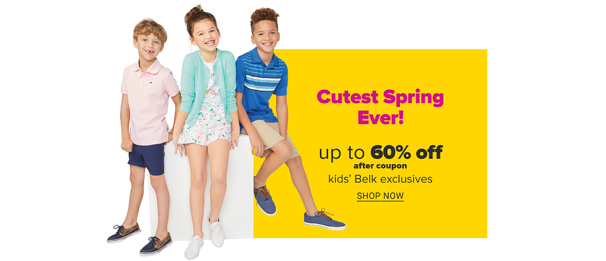 A boy in a pink polo, navy shorts and boat shoes. A girl in a floral romper, a green cardigan and white sneakers. A boy in a blue polo shirt with stripes across the chest, khaki shorts and blue sneakers. Cutest spring ever! Up to 60% off, after coupon, kids' Belk exclusives. Shop now.