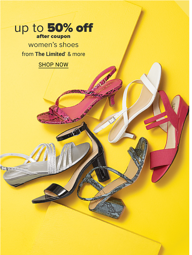 An assortment of sandals in a variety of colors and styles. Up to 50% off after coupon, women's shoes from The Limited and more. Shop now.