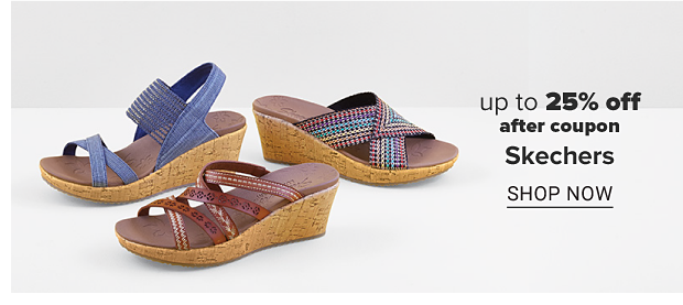 Three wedge sandals in different colors and styles. Up to 25% off after coupon, Skechers. Shop now.