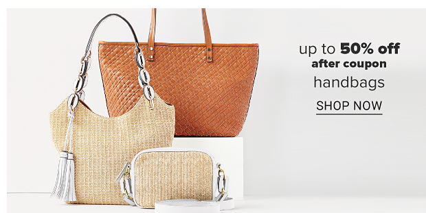 Two tote bags and a crossbody bag. Up to 50% off, after coupon, handbags. shop now.