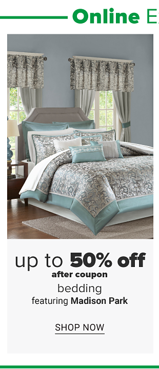 A bed with silver and aqua bedding and pillows to match. Up to 50% off after coupon, bedding featuring Madison Park. Shop now.