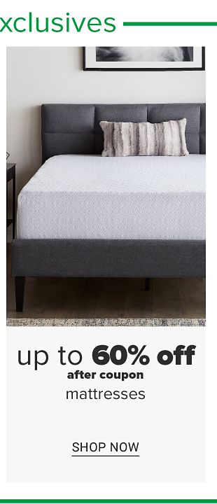 A bed with a white mattress. Up to 60% off after coupon mattresses. Shop now.