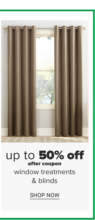 A window with beige curtains. Up to 50% off after coupon, window treatments and blinds. Shop now.