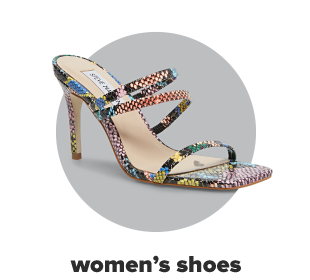 A multi-color strappy sandal with a skinny heel. Womens shoes.